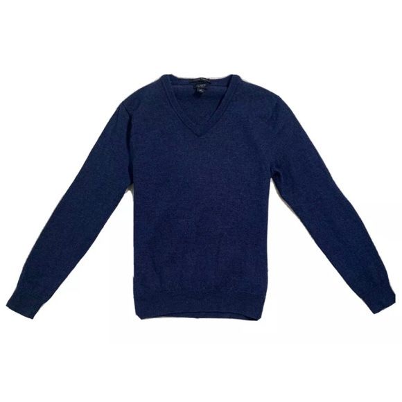 J Crew Women's Casual Dark Blue V-Neck Sweater
